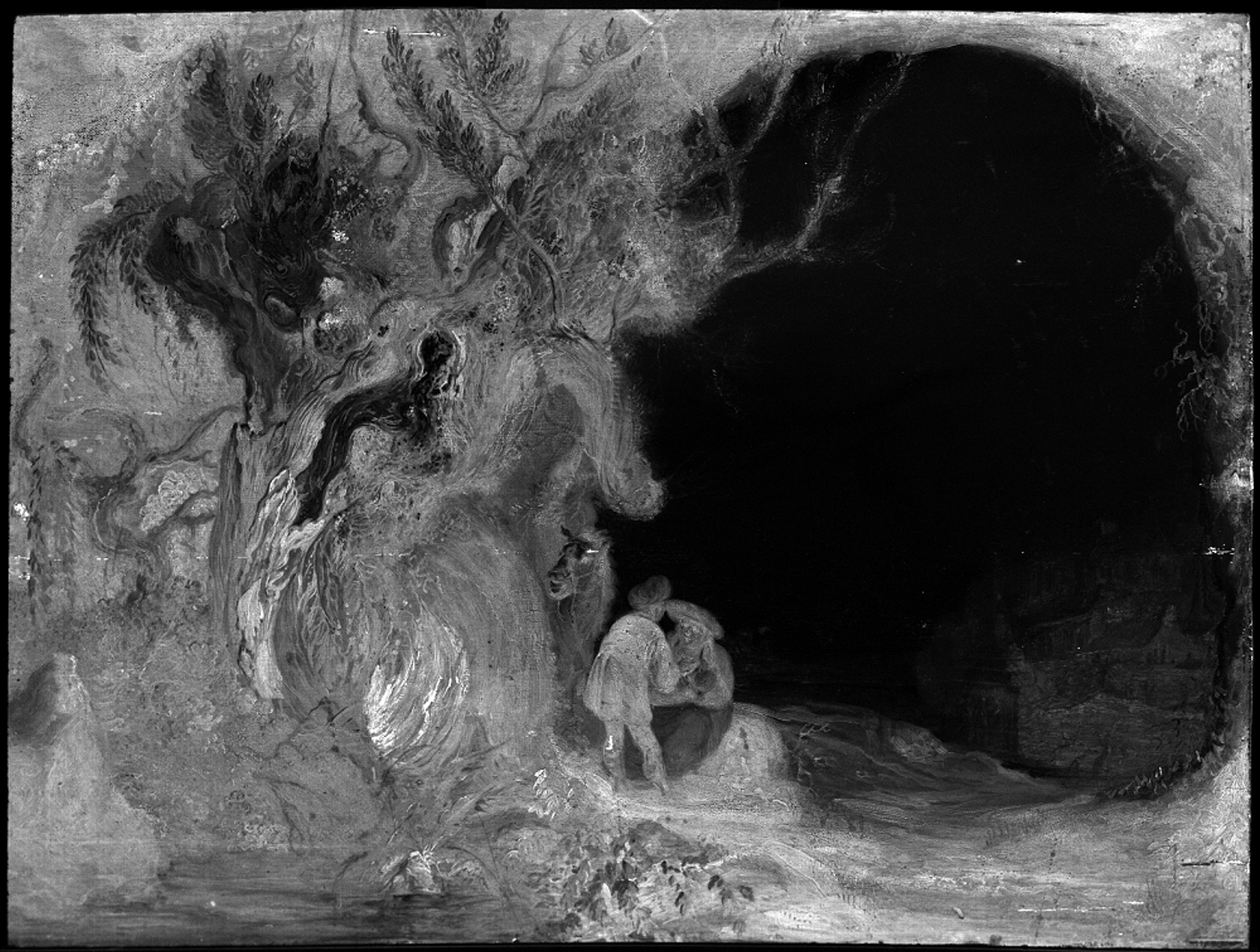 This calcium map (Macro X-Ray Fluorescence) of Landscape with the Rest on the Flight to Egypt (around 1645-50) by a Rembrandt pupil or follower is part of the Rembrandt House Museum's exhibition Rembrandt Laboratory Courtesy of Rijksdienst voor het Cultureel Erfgoed and the Rembrandt House Museum
