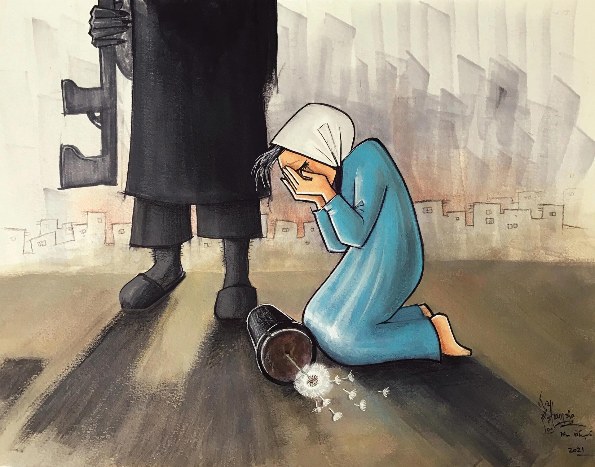 Shamsia Hassani's Death to Darkness (17 August 2021). Courtesy of the artist