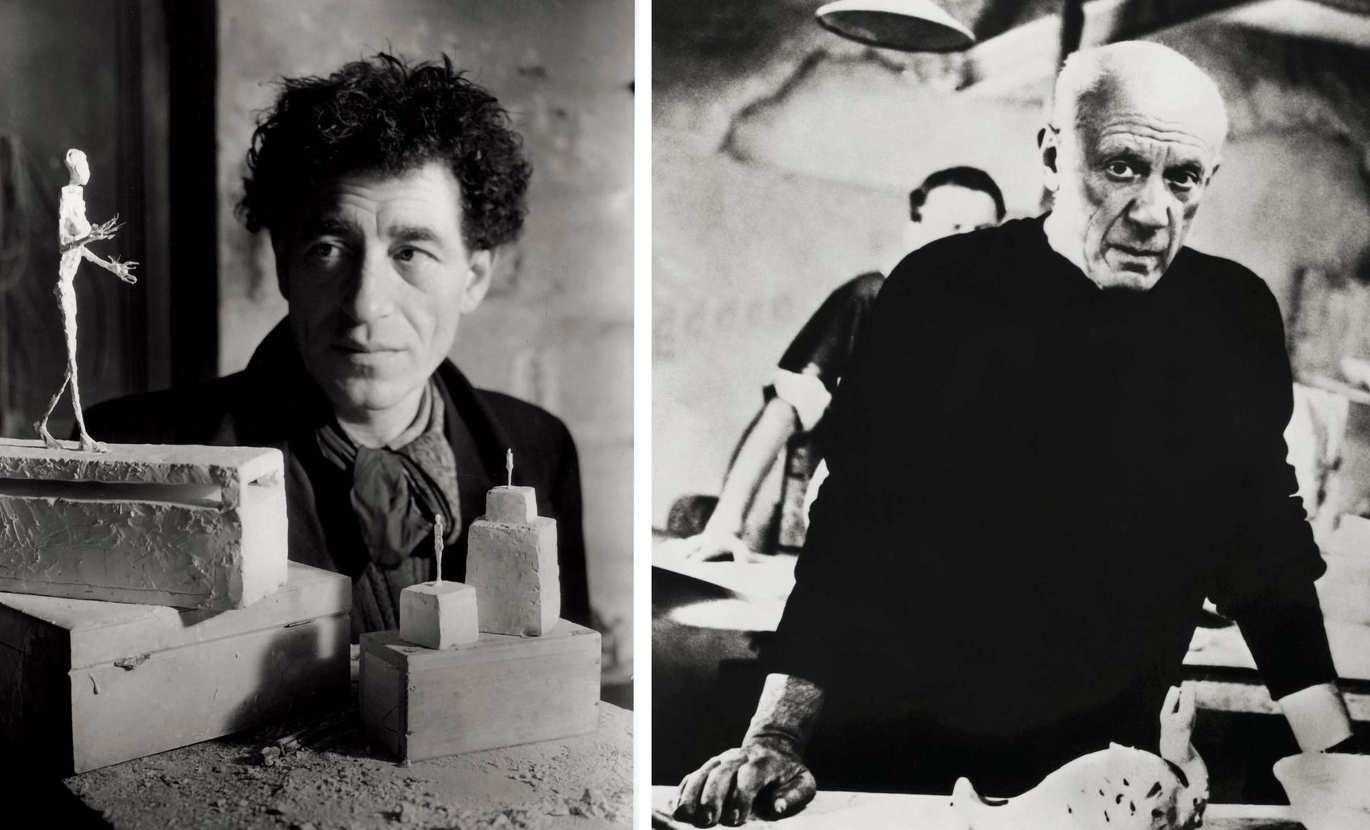 Beijing's 798 Art District is preparing a five-year partnership with the Paris-based institutions dedicated to Alberto Giacometti (left, in 1945) and Pablo Picasso (in 1957) Giacometti: © Emile Savitry. Picasso: George Rinhart/Corbis via Getty Images
