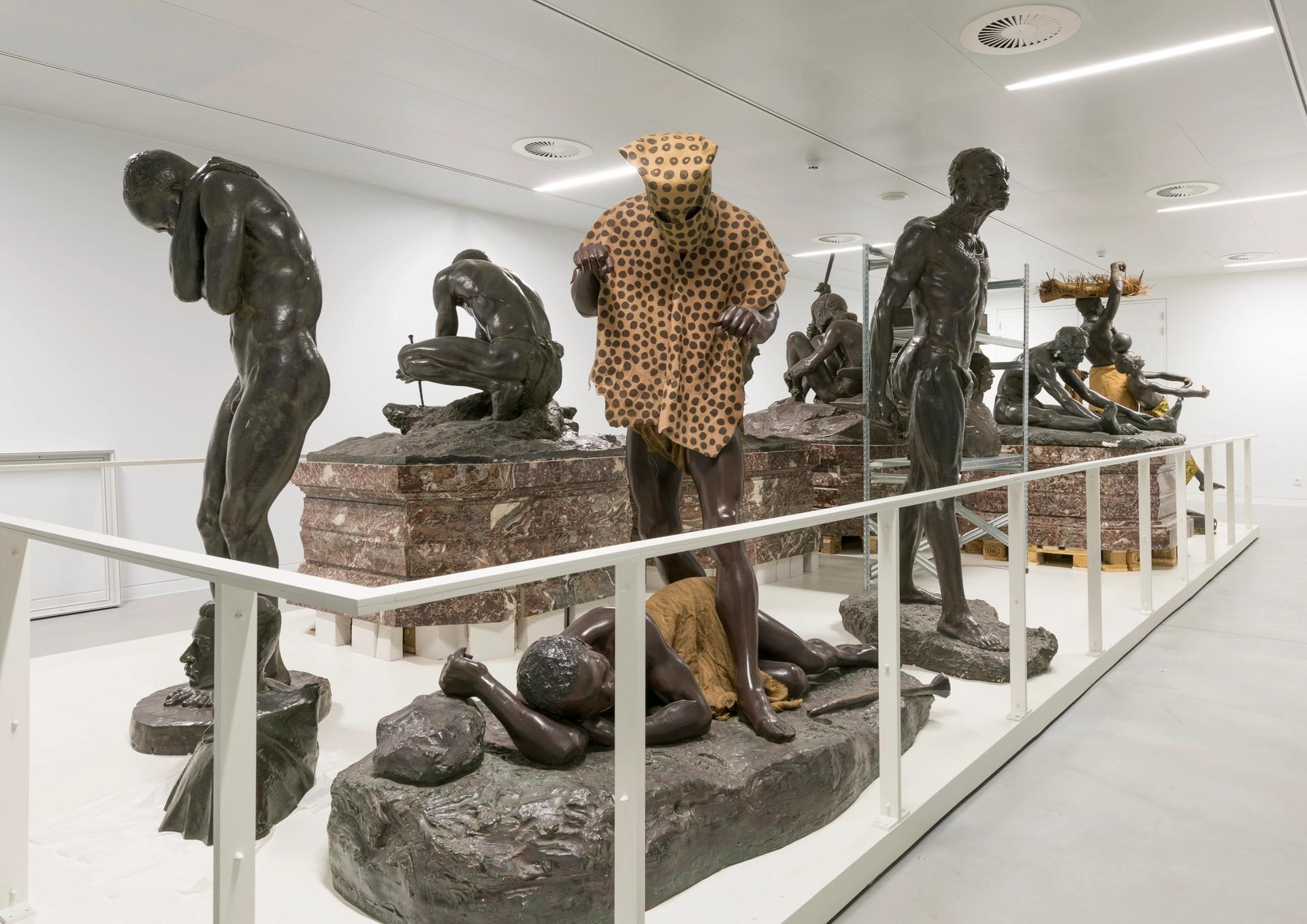These statues are considered too overtly racist to be shown in the museum's main galleries and are now on display in the basement © RMCA, Tervuren, photo Jo Van de Vijver