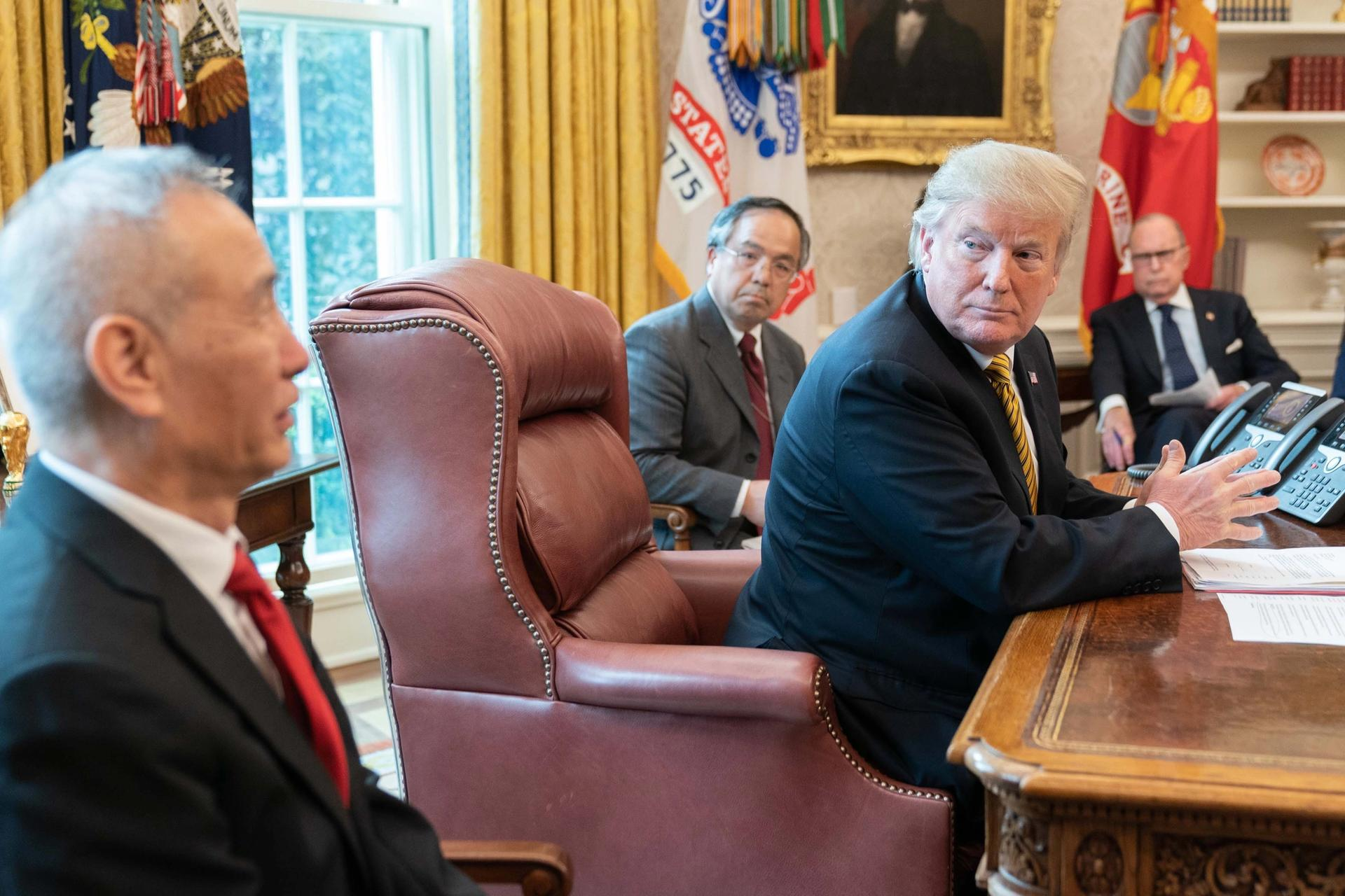 President Trump meets with the Chinese Vice Premier Liu He at the White House following continued US–China trade talks earlier this year Courtesy of the White House. Photo by Shealah Craighead
