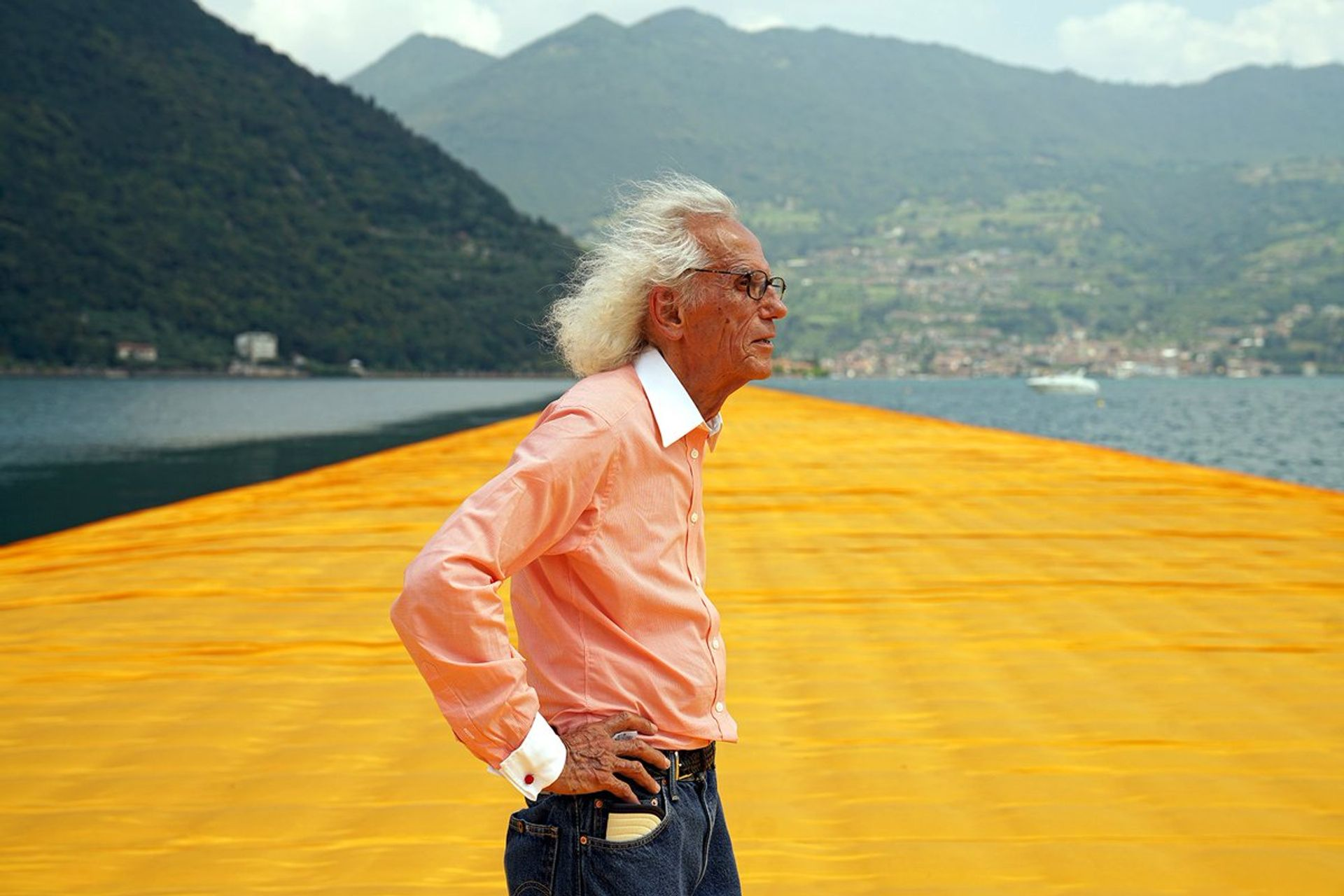 Christo with his project The Floating Piers (2015) on Lake Iseo in Italy © Christo and Jeanne-Claude