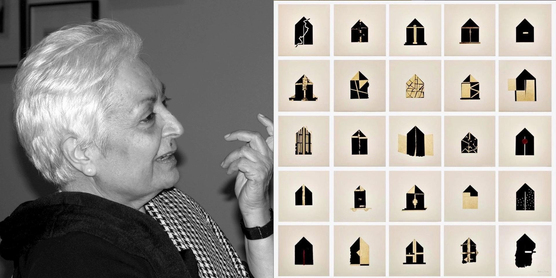 Left: Zarina Hasmi; right: her work Folding House (2013)