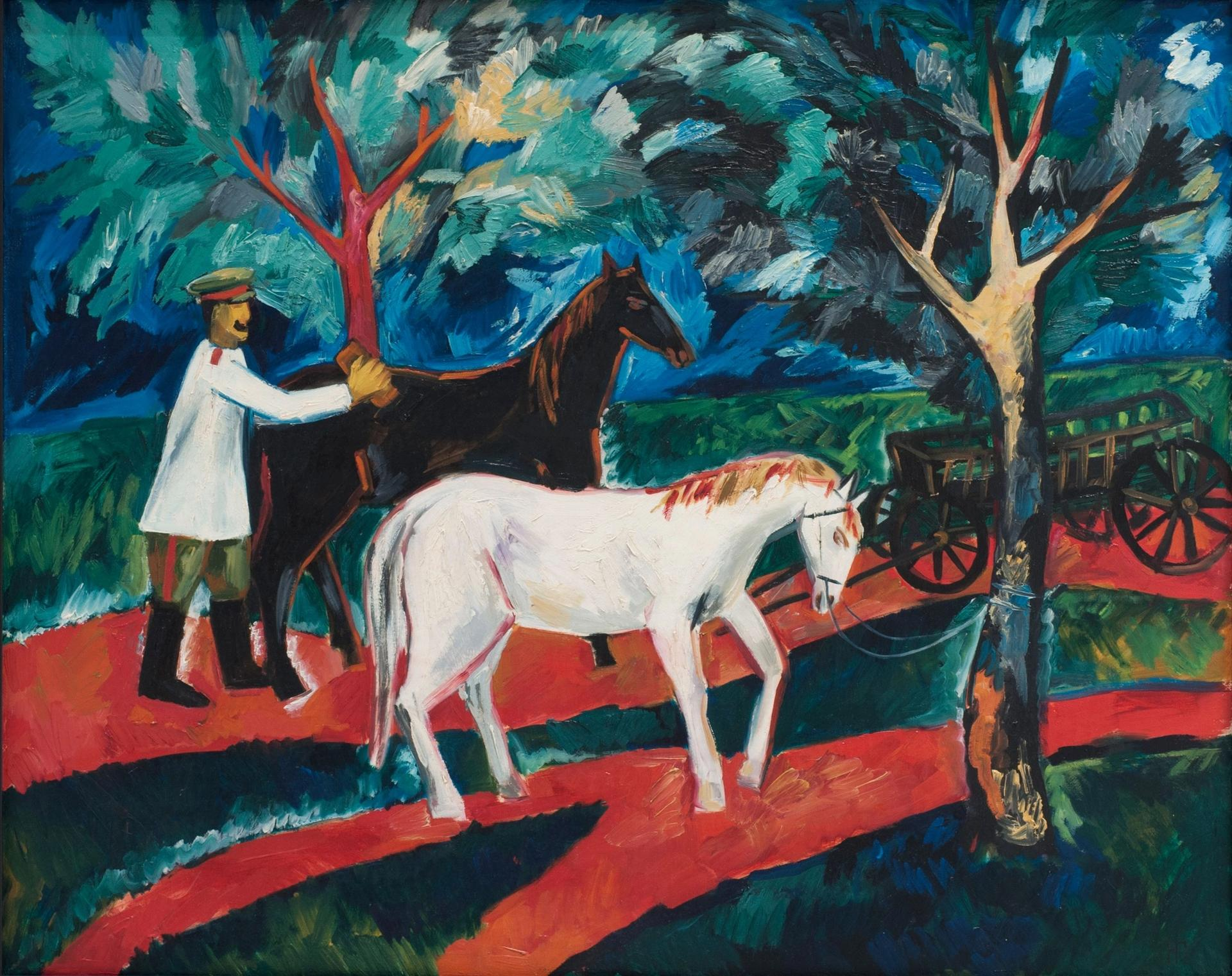 Natalia Goncharova's Soldier Washing Horses (1910), valued in court documents at $6m, is among the works that a gallery's lawyer says were taken 'hostage' Courtesy of Shchukin Gallery