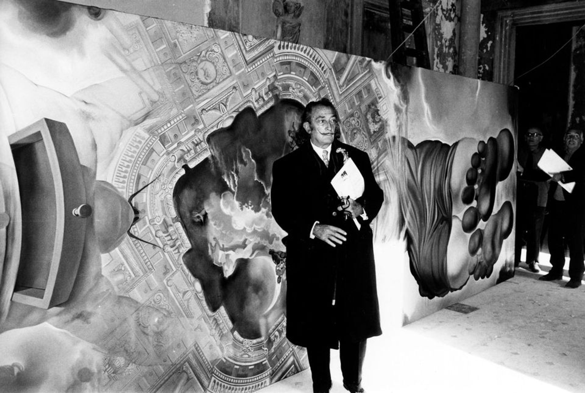 Salvador Dalí in front of The Palace of the Wind, his painted ceiling for the Dalí Theatre-Museum in Figueres Melitó Casals