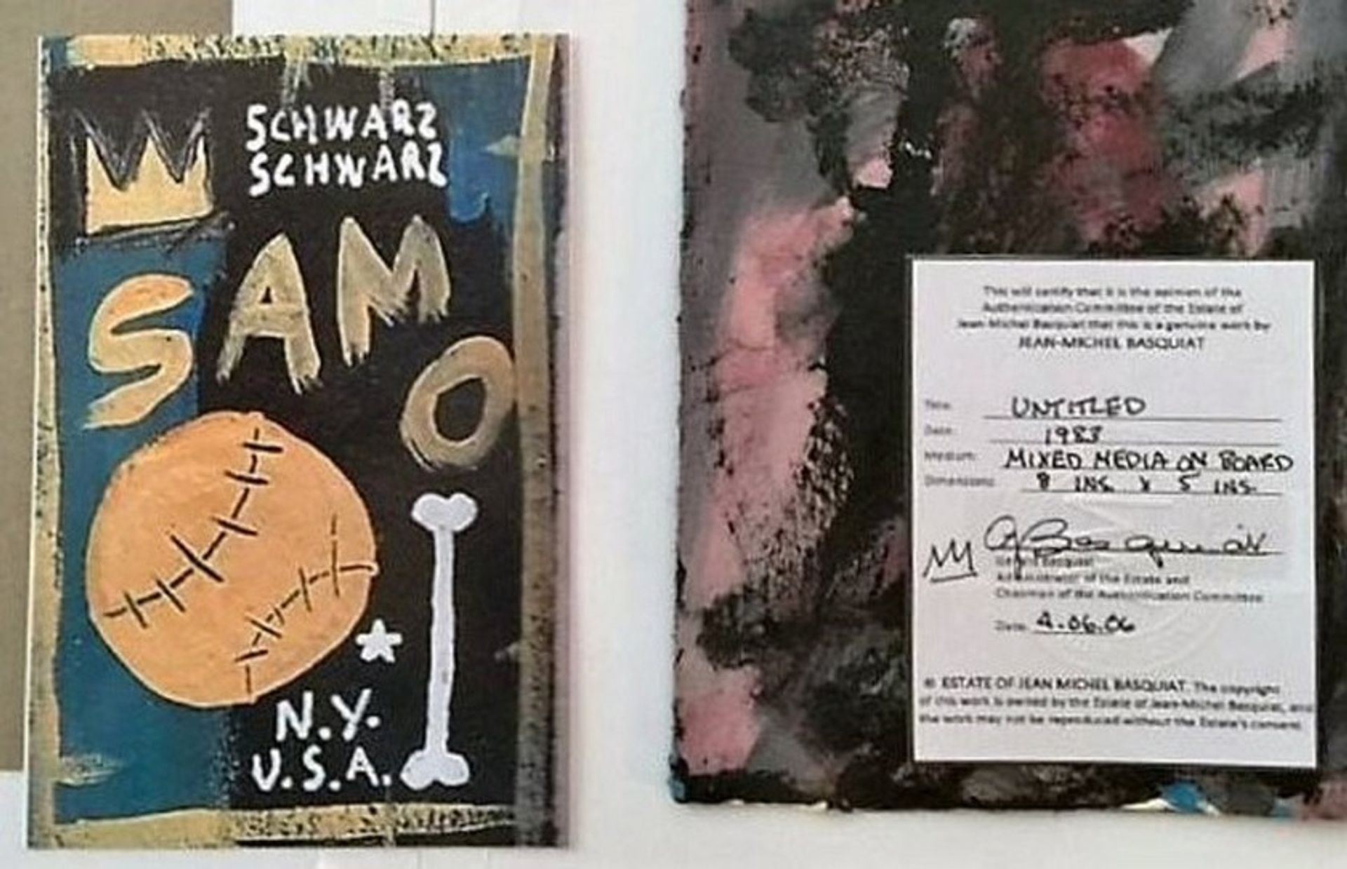 Philip Righter  tried to sell this fake artwork by Jean-Michel Basquiat, the US attorney says. AP