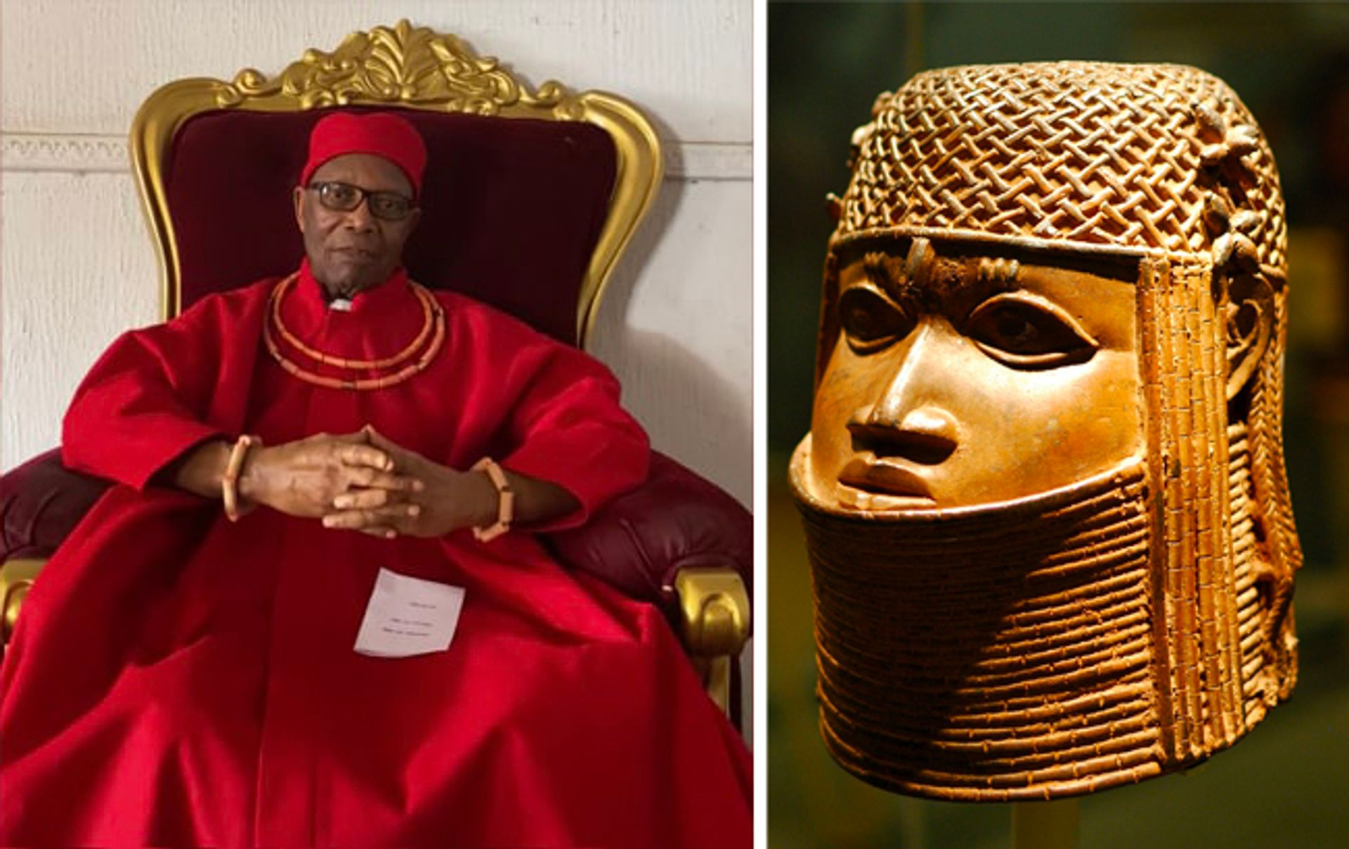 Left: Prince Edun Akenzua in an interview for the BBC; right: the Benin bronze in the Bristol museum's collection Akenzua: BBC Inside Out West; bronze: Matt Neale