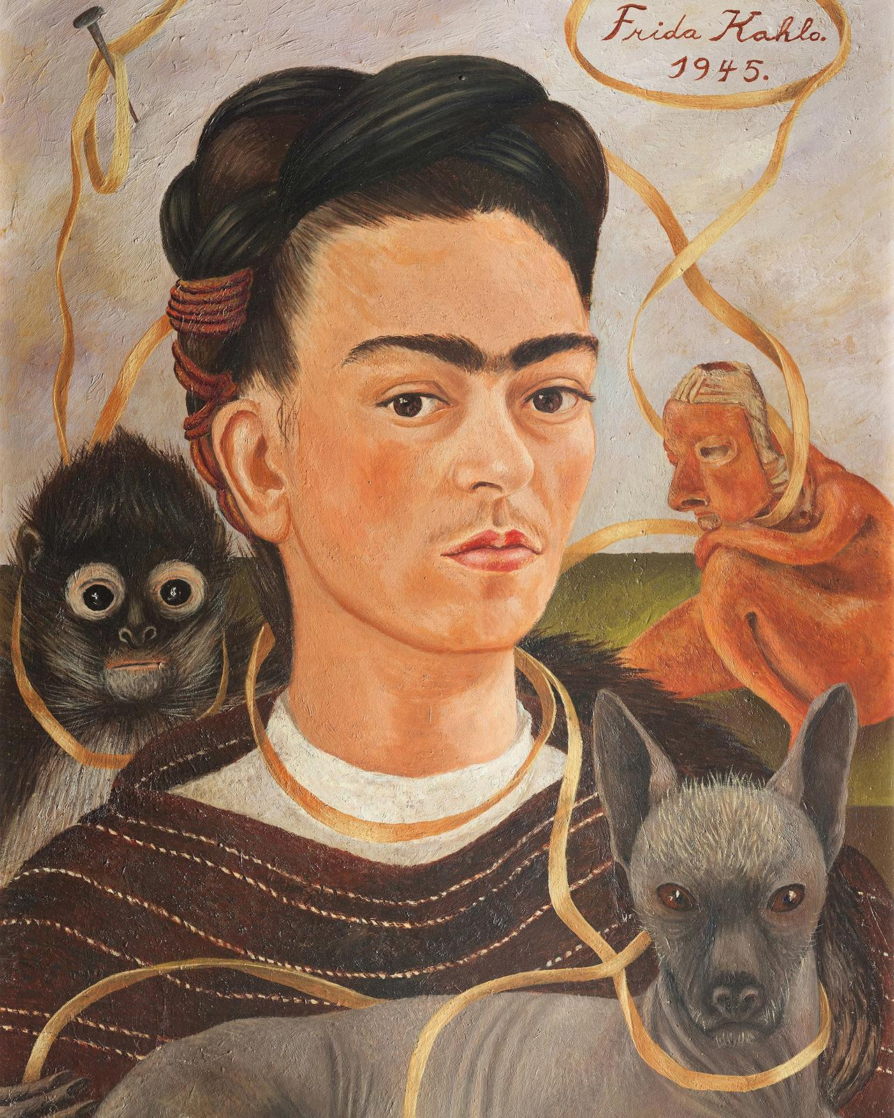 Frida Kahlo, Self-Portrait with Small Monkey (1945) Collection Museo Dolores Olmedo, Xochimilco, Mexico © 2020 Banco de México Diego Rivera Frida Kahlo Museums Trust, Mexico, D.F. / Artists Rights Society (ARS), New York