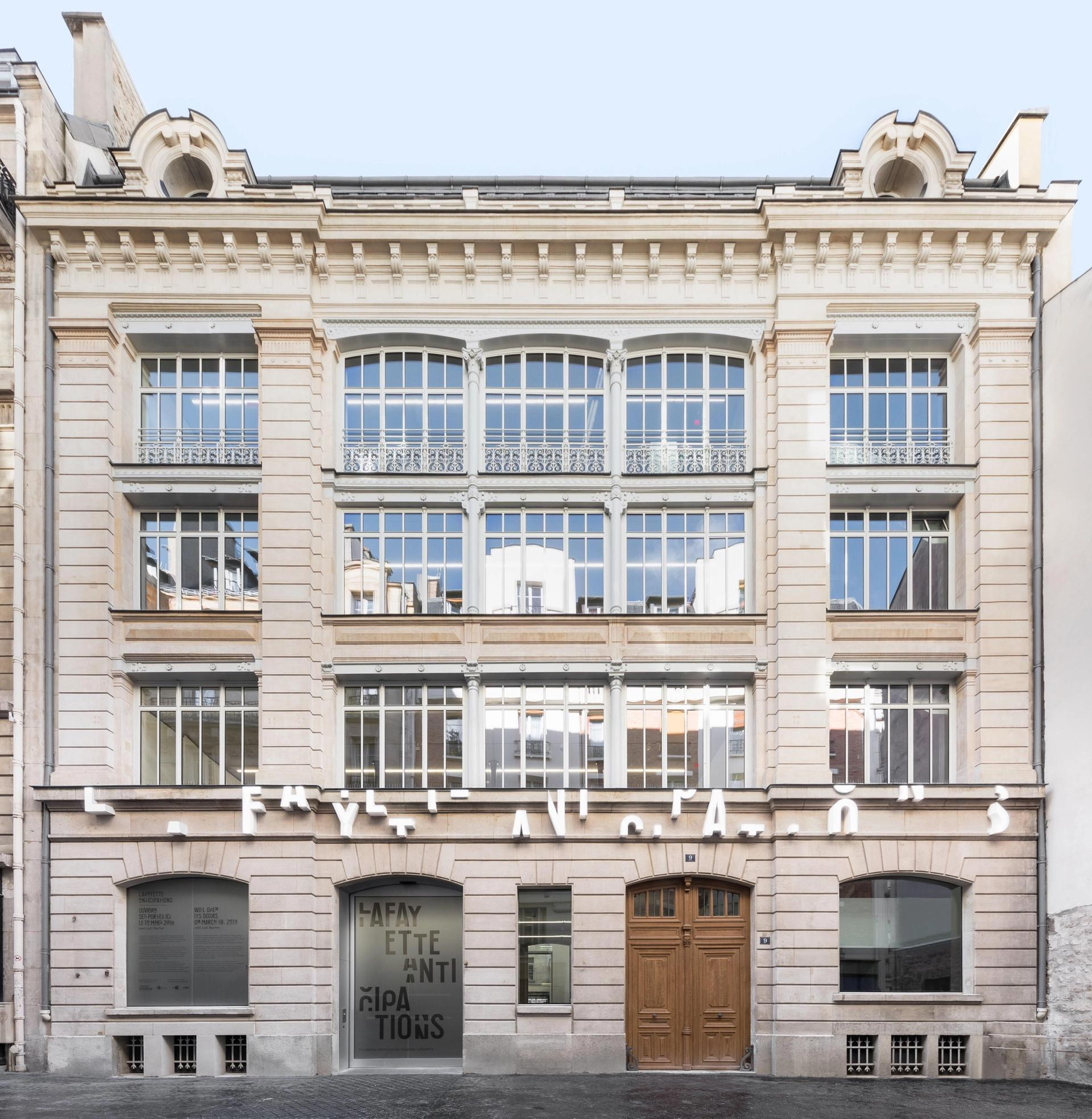 The façade of Lafayette Anticipations at  9 rue du Plâtre Delfino Sisto Legnani and Marco Cappelletti