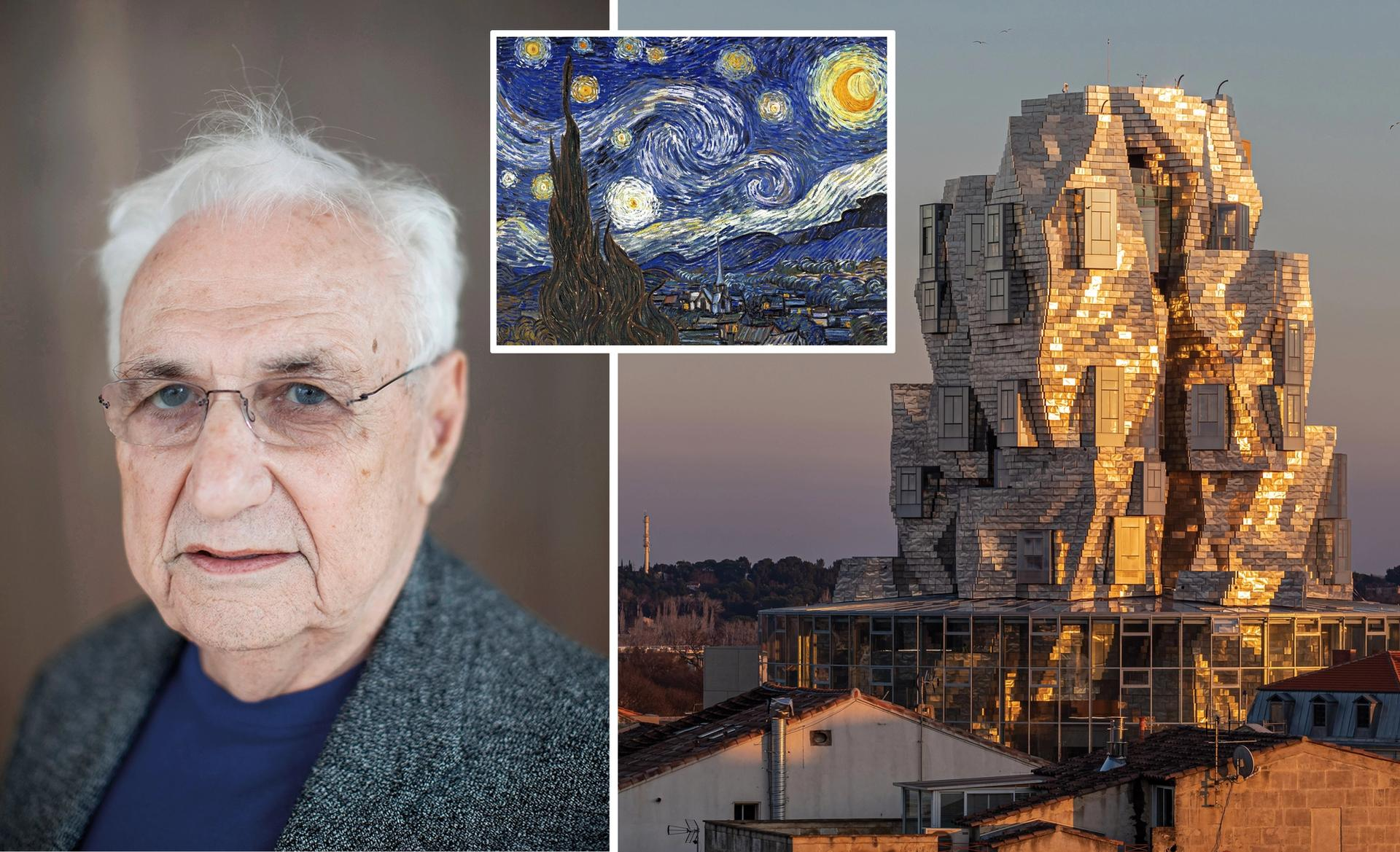 """""""My own art history and sense of Van Gogh's presence in Arles was always in the back of my mind,"""" says Frank Gehry of his LUMA Arles design Gehry: photo by Jerome Favre/Bloomberg via Getty Images; LUMA Arles: photo by Adrian Deweerdt / Luma; Van Gogh: Starry Night (1889)"""