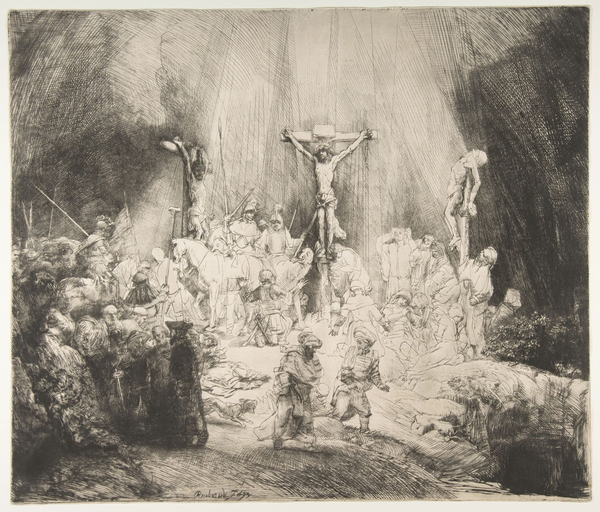 Rembrandt's Christ Crucified between the Two Thieves: The Three Crosses (1653) Courtesy of the Metropolitan Museum of Art