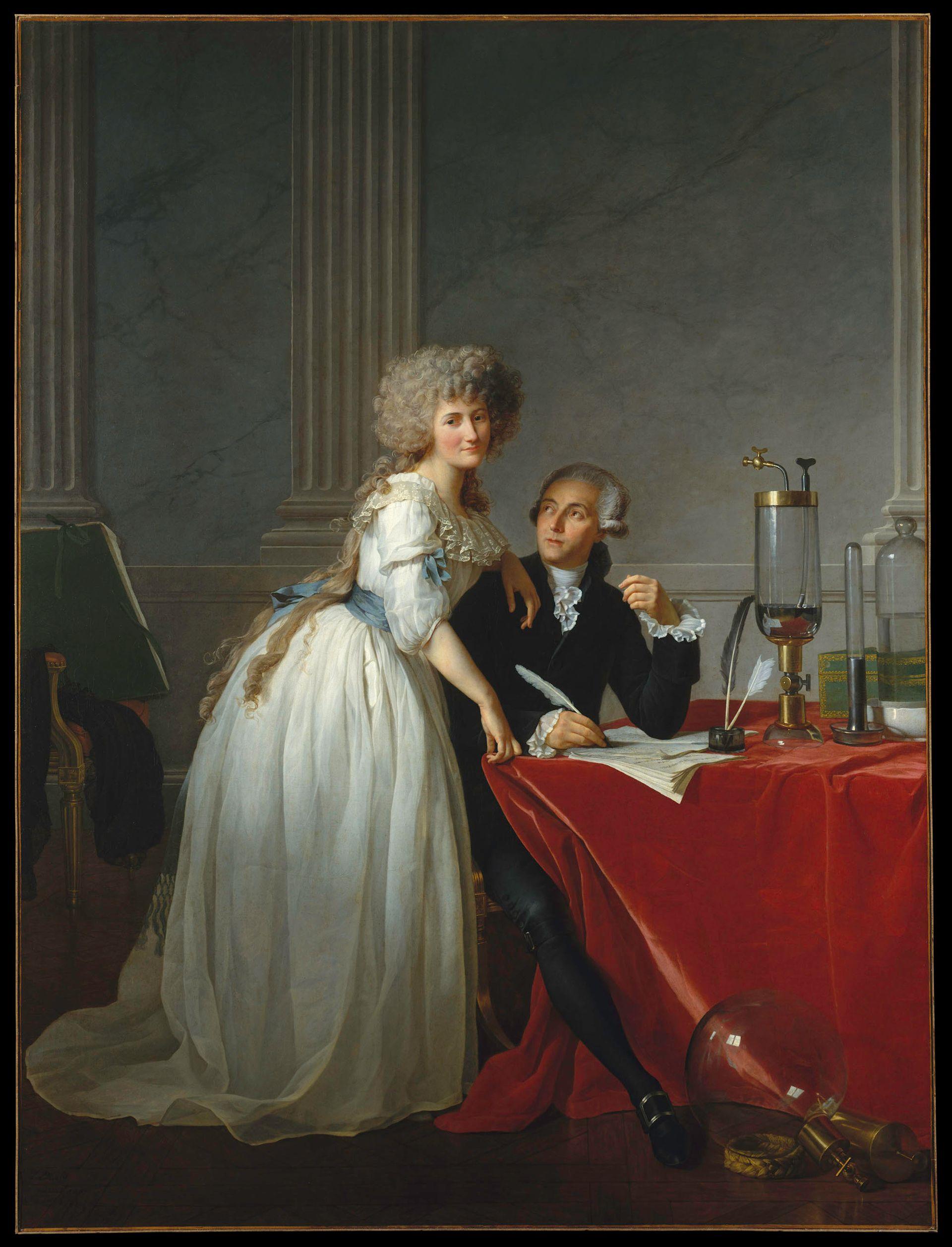 Jacques-Louis David's 1788 painting Antoine Laurent Lavoisier (1743-1794) and Marie Anne Lavoisier (1758-1836), at the Metropolitan Museum of Art Metropolitan Museum of Art