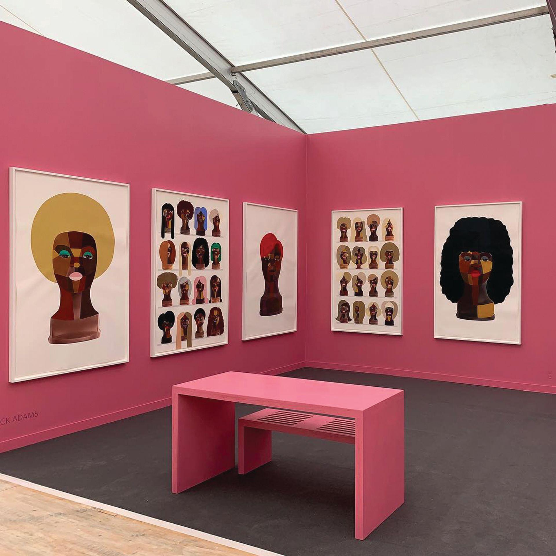 Installation shot of Derrick Adams's Beauty World, part of the artist's Deconstruction Worker series shown by Vigo Gallery at Frieze New York 2019 Courtesy of Vigo Gallery via Instagram