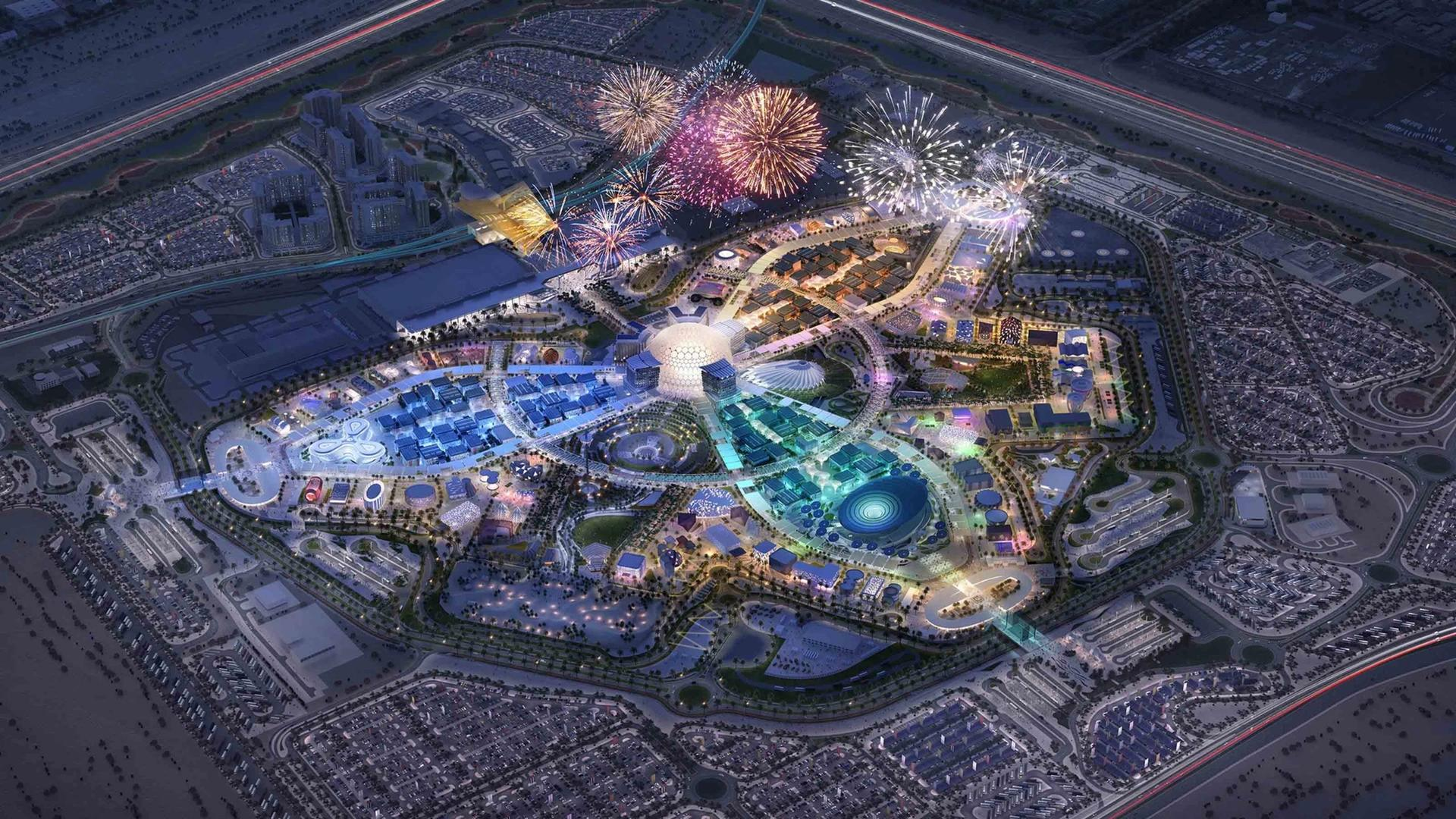 A masterplan rendering of Expo 2020 at night Image courtesy of Expo 2020 Dubai/The Walshe Group