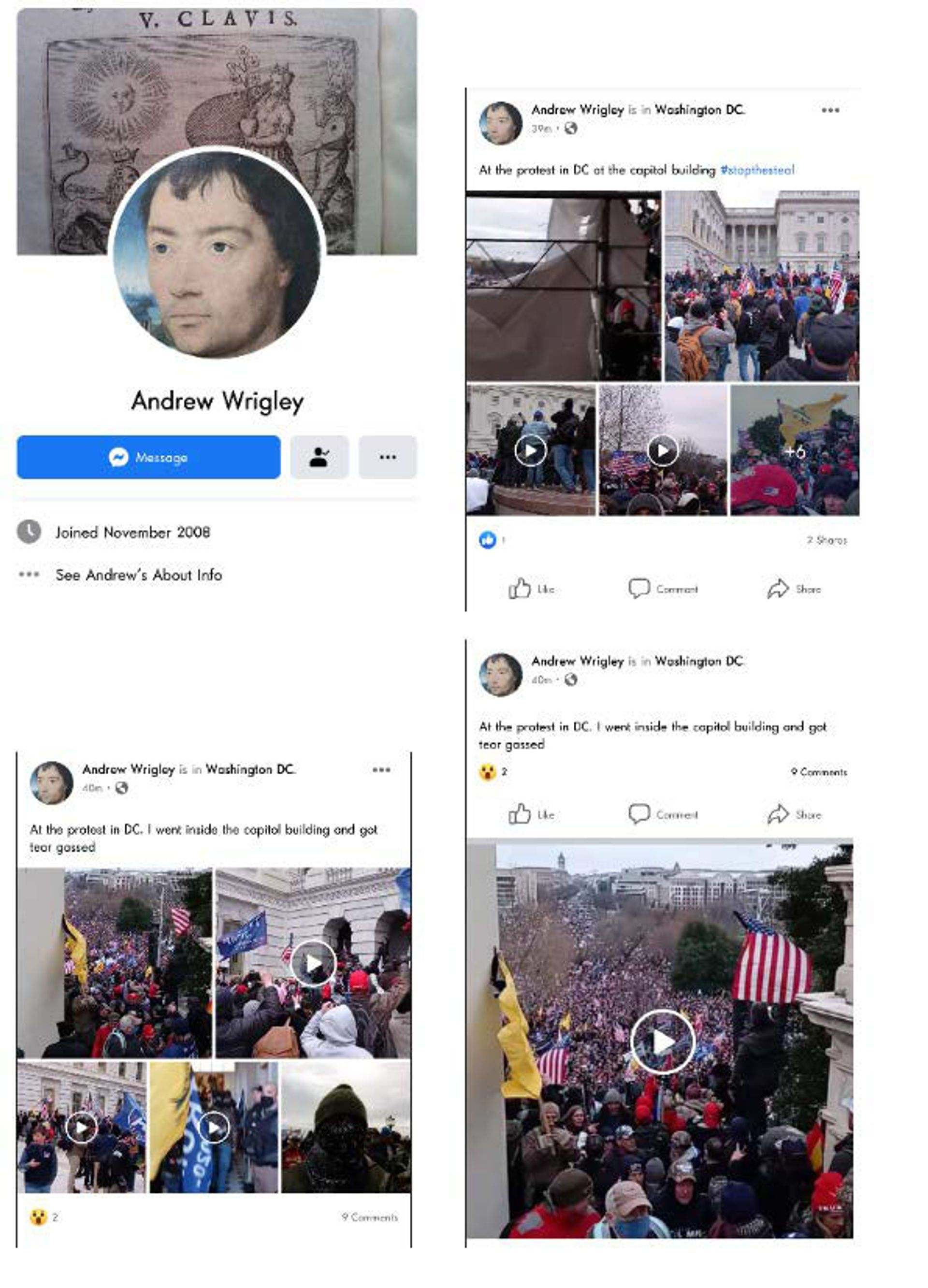United States Capitol Police identified Wrigley from his social media posts Photo: US Department of Justice
