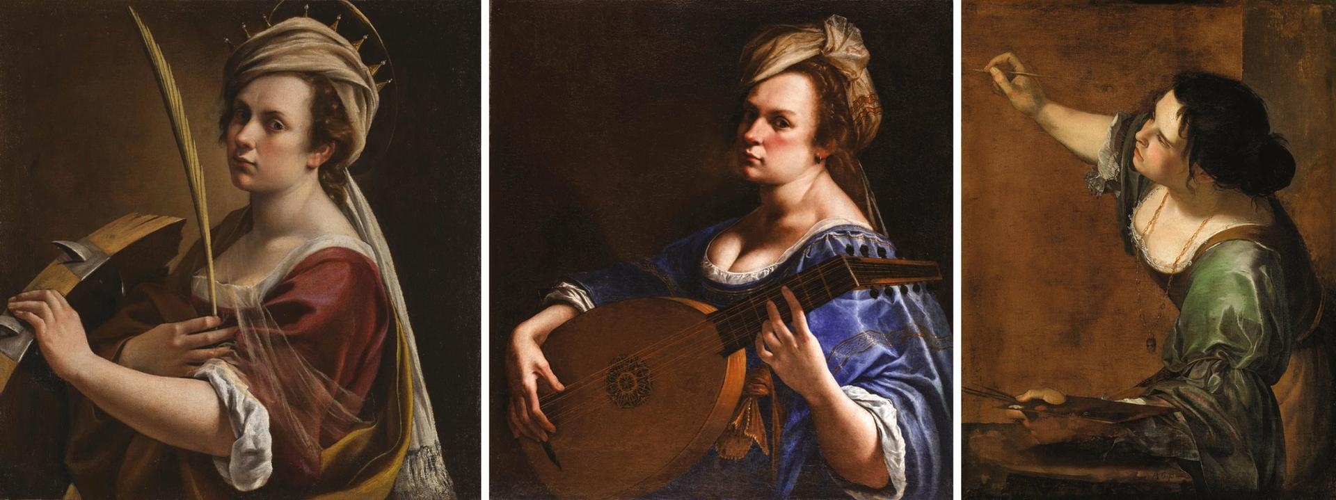 The National Gallery acquired Self-portrait as Saint Catherine of Alexandria (1615-17, far left) and hopes to secure loans of Self-portrait as a Lute Player (1615-18, centre) from the Wadsworth Atheneum Museum of Art and the Royal Collection's Self-portrait as the Allegory of Painting (1638-39)