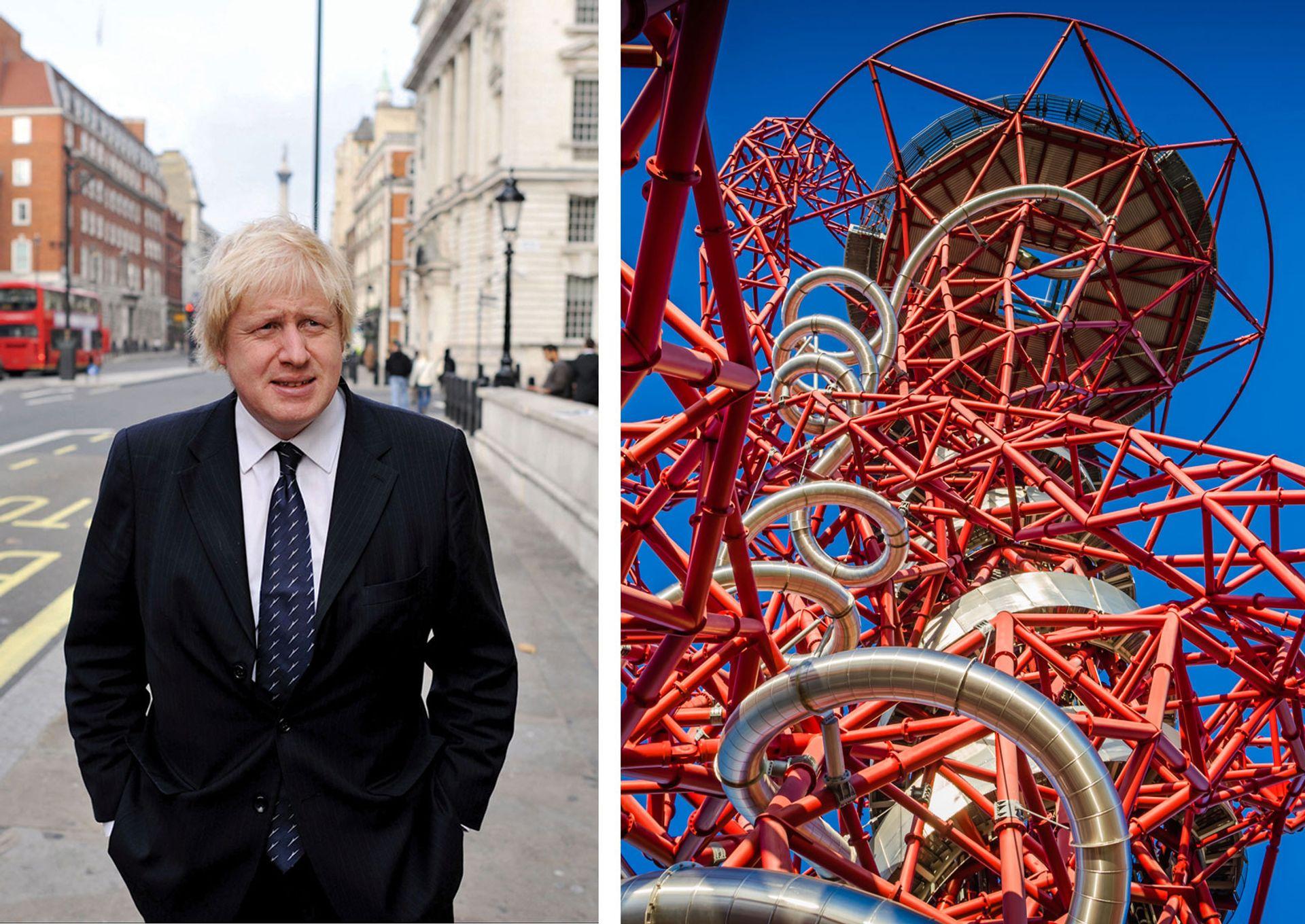 Debt on Boris Johnson's flagship art project ArcelorMittal Orbit has spiralled to £13m © Boris Johnson: Andrew Parsons/ i-Images; ArcelorMittal Orbit: courtesy of Frank Da Silva Photography.