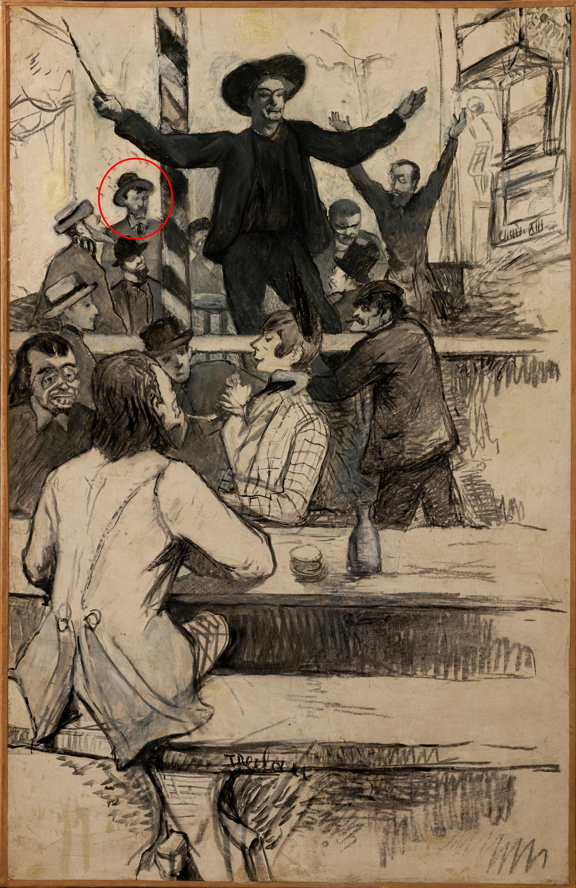 Henri de Toulouse-Lautrec's The Refrain of the Louis XIII-style Chair at the Cabaret of Aristide Bruant (1886), 78cm x 50cm, with Van Gogh circled Courtesy of Hiroshima Museum of Art