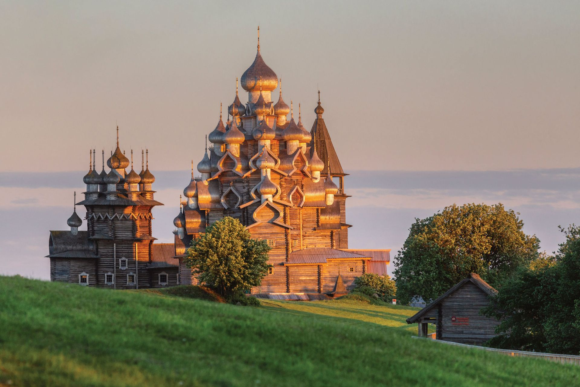 Located on a remote island in Lake Onega, the Russian Orthodox church is part of an ensemble of storied wooden buildings known as Kizhi Pogost, a Unesco World Heritage Site since 1990 Photo: Igor Georgievsky