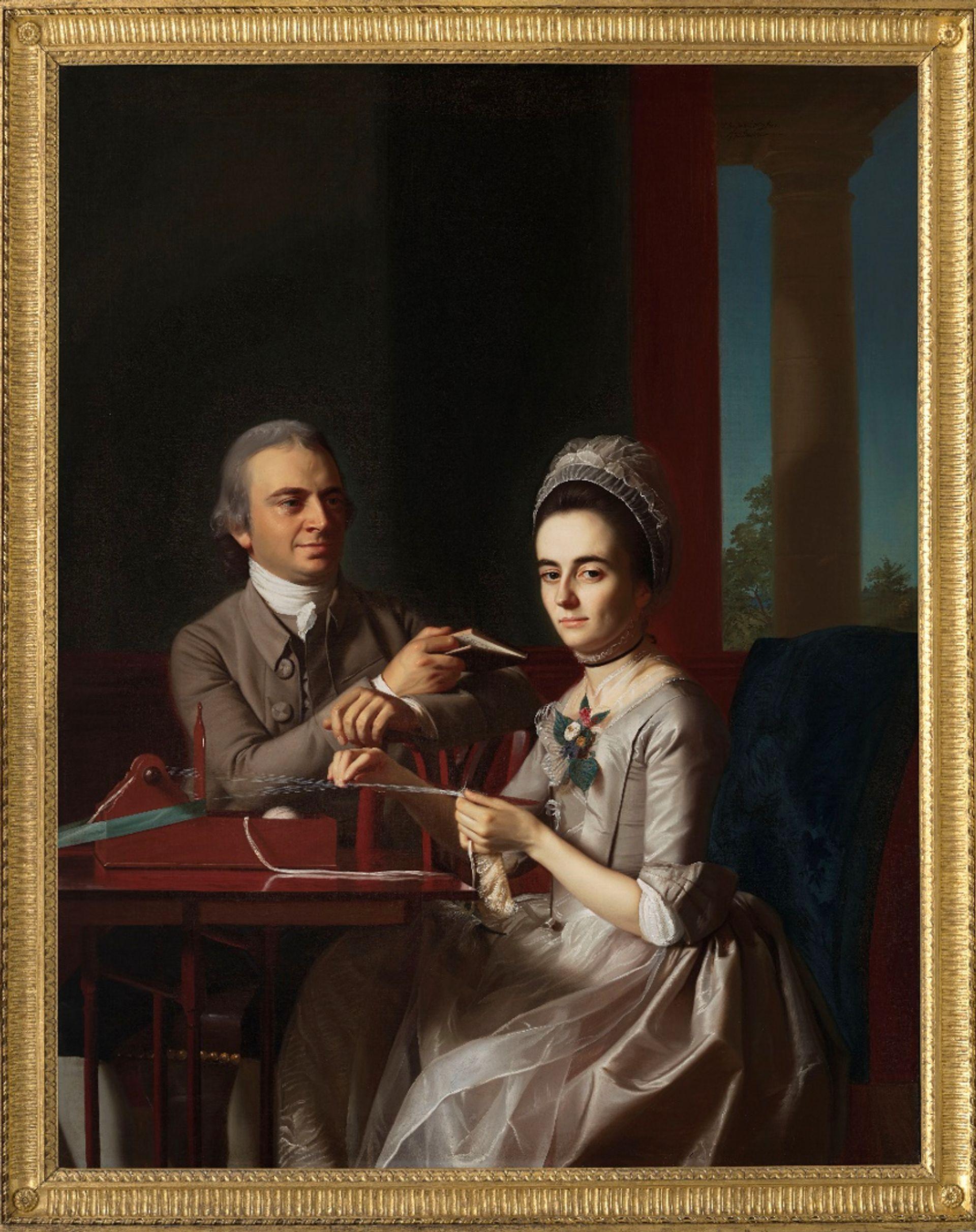 After treatment: John Singleton Copley's Portrait of Mr and Mrs Thomas Mifflin (Sarah Morris) (1773) Image courtesy of the Philadelphia Museum of Art