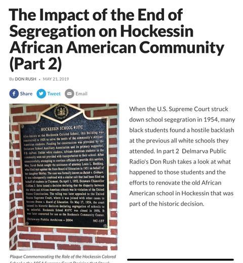 Saving Delaware School that Brought Down Segregation, Part 2