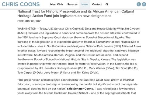 Hockessin Colored School #107 Congressional Legislation to Become National Park Service Affiliate Site