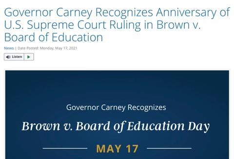 Governor Carney Proclaims Brown v. Board of Education Day at HCS #107 - May 17, 2021