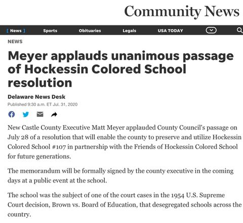 Hockessin Community News Article - Meyer Celebrates Resolution for Partnership with HCS #107 on Diversity, Inclusion , and Social Equity Center