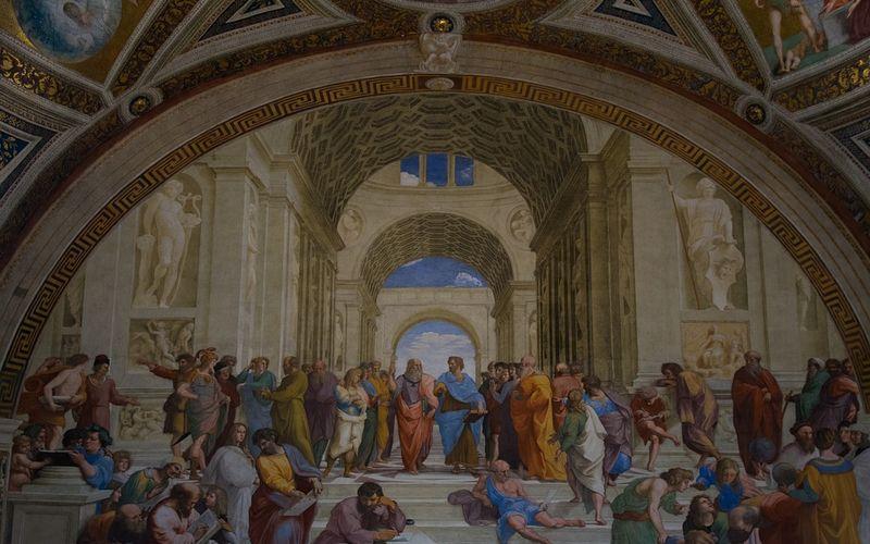 Aristoteles: Platonische Akademie; Raffaels Gemälde