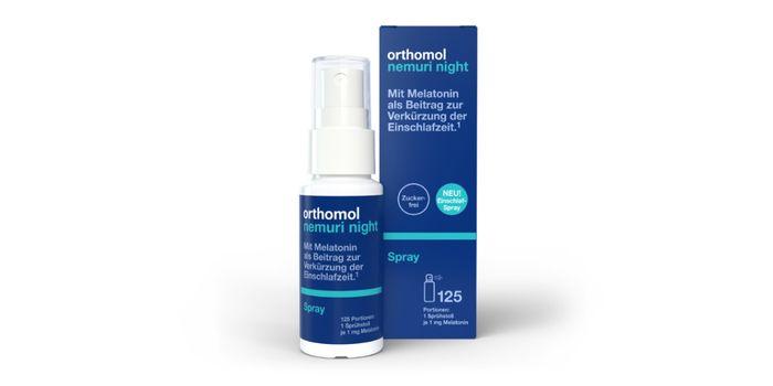 Orthomol Nemuri night-Spray mit Verpackung vor weißem Hintergrund