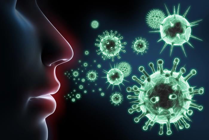 Gesicht, Viren in der Luft