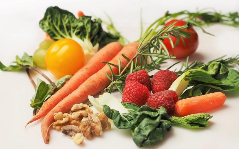 Lebensmittel Schlaf vegan; Gemüse Obst Nüsse