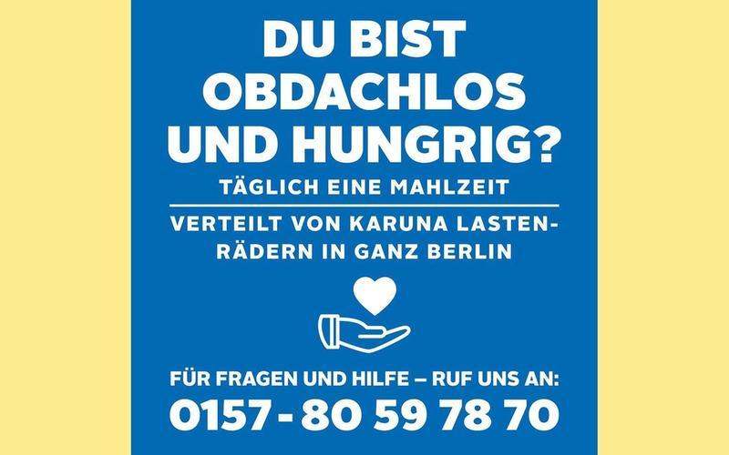 Hotline für Obdachlose: 0157−80 59 78 70