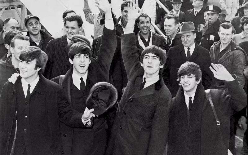The Beatles, schwarweiß.