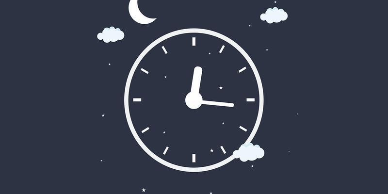 Besser einschlafen: Mond, Uhr, Sterne.