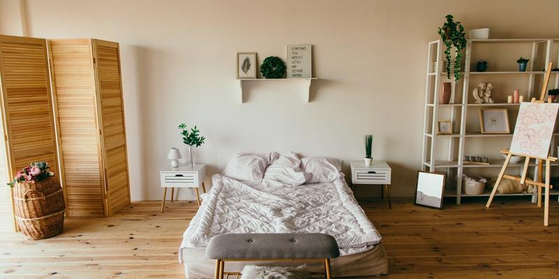 feng shui schlafzimmer hell Bett minimalistische Einrichtung