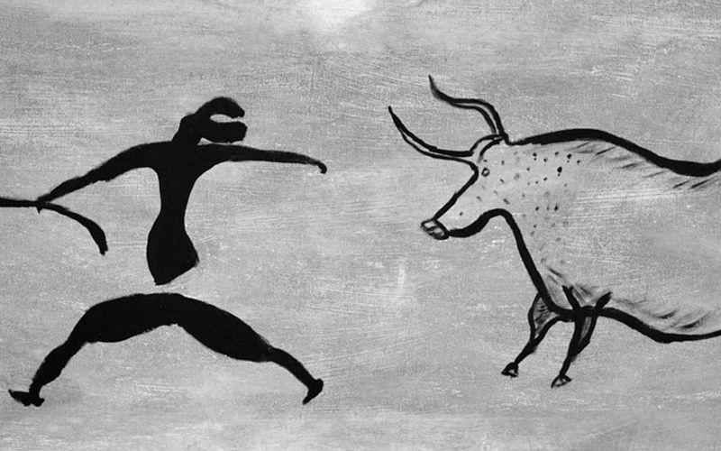 Wandmalerei Steinzeit; Einsamkeit und Schlaf