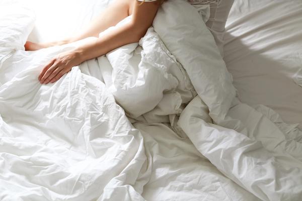 weiße Bettdecke