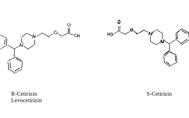 Strukturformel von R- und L-Cetirizin