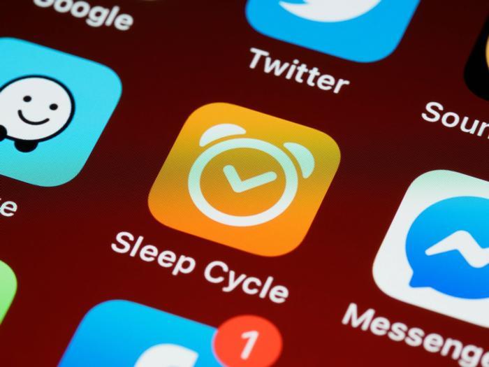 Handydisplay mit der App Sleep Cycle
