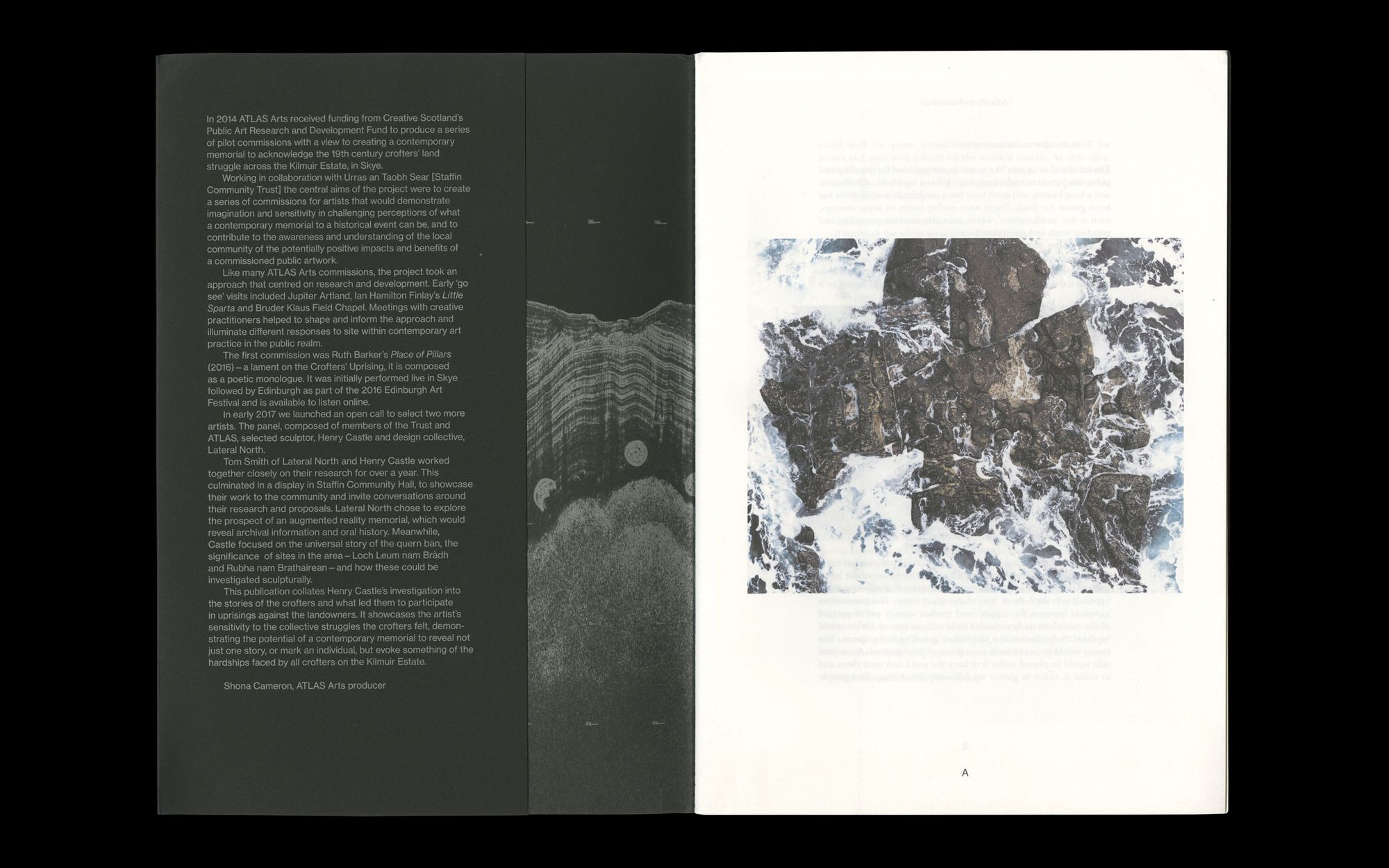 Scan of internal spread of Henry Castle, A Crofter's Memorial. Shows black cover stock alongside off-white internal stock.