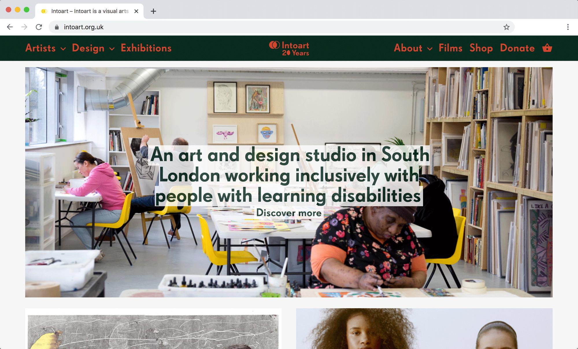 Screen grab of Intoart website.