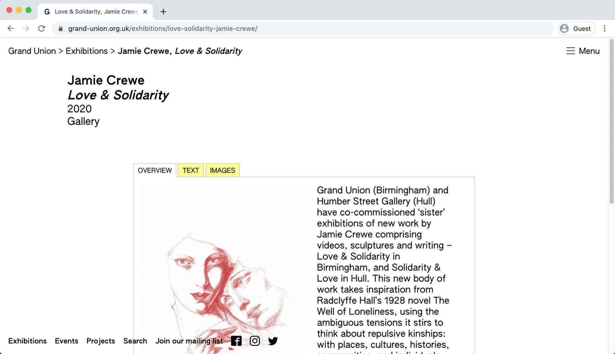 Screen grab of Grand Union website