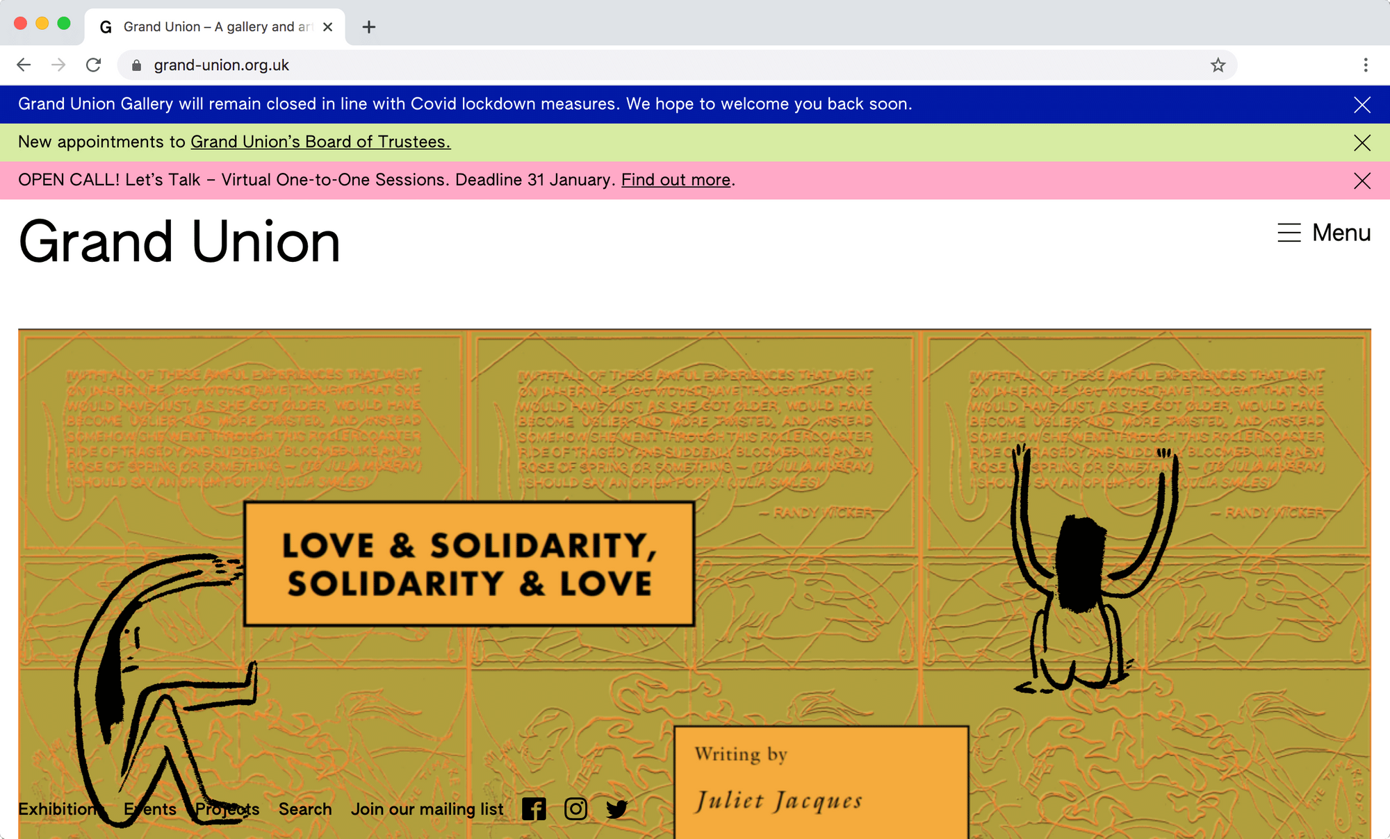 Screen grab of Grand Union website