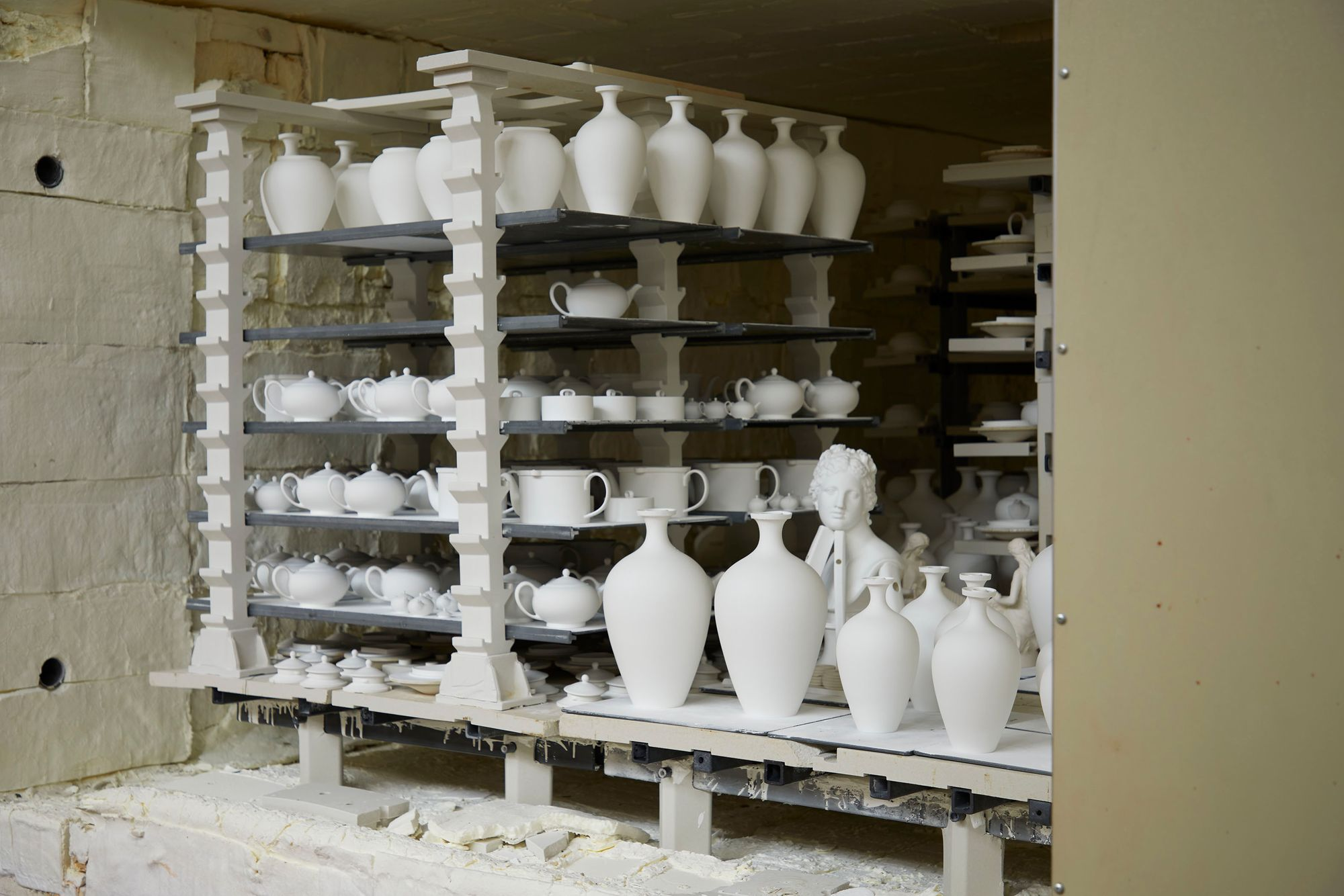 View inside kiln after products have been fired, waiting to be unloaded.