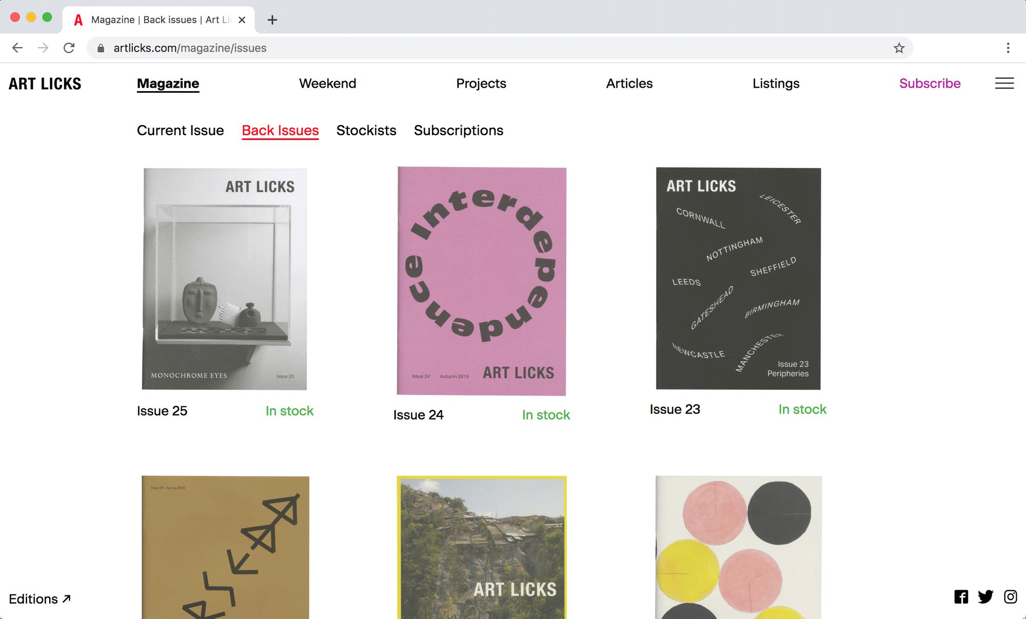 Screen grab of Art Licks website.
