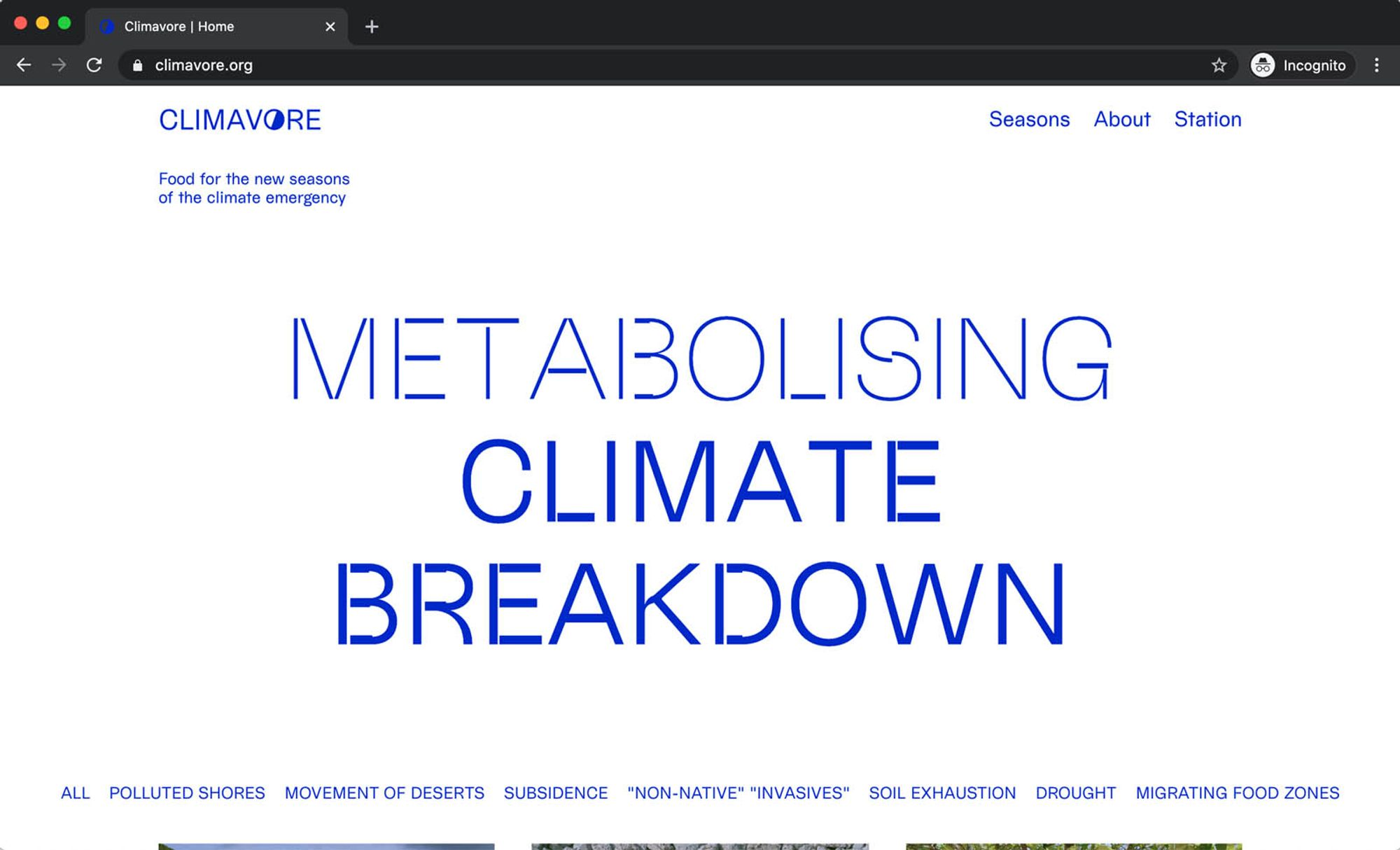 Screen grab of Climavore website