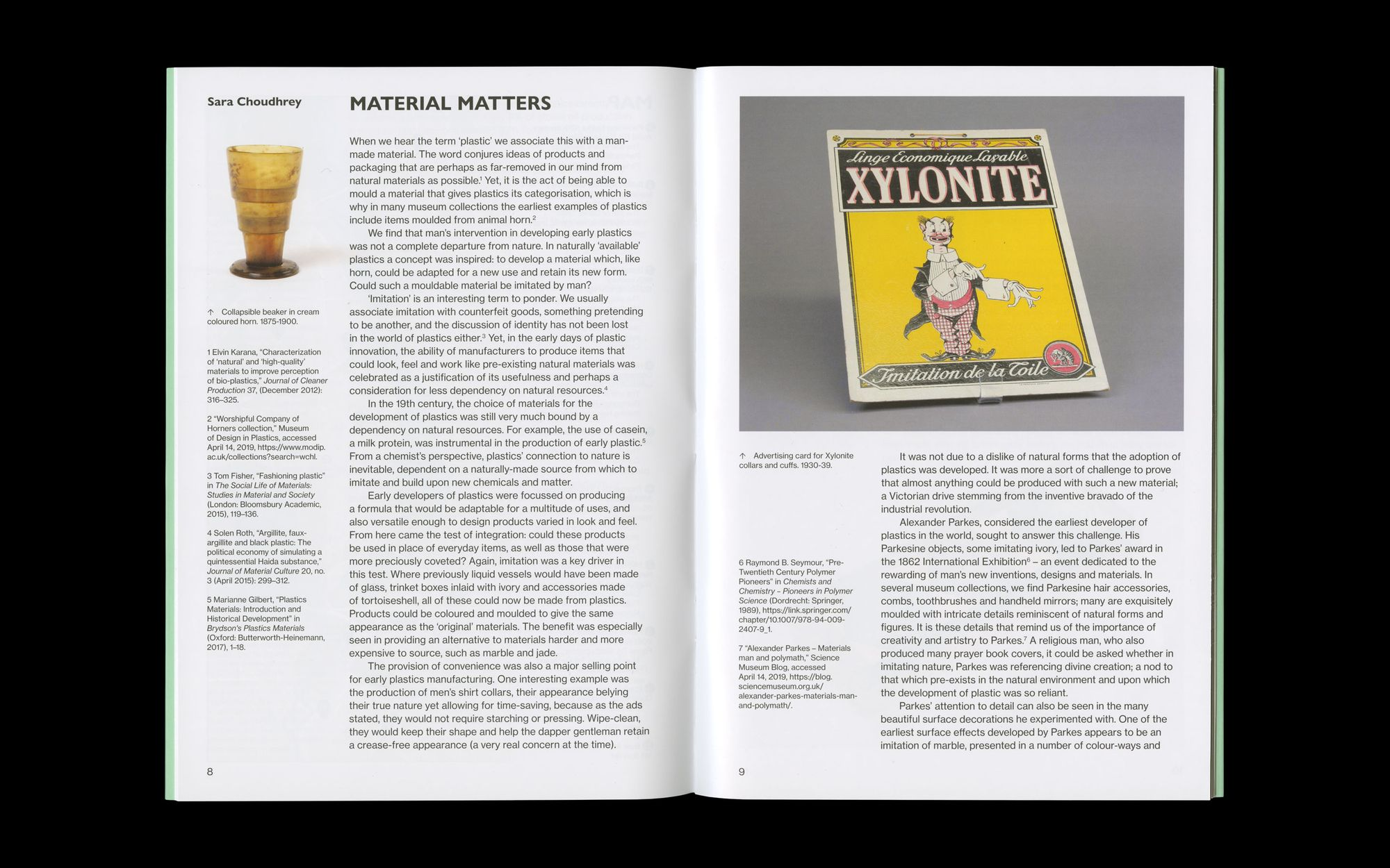 Scan of inside spread of Plastics publication
