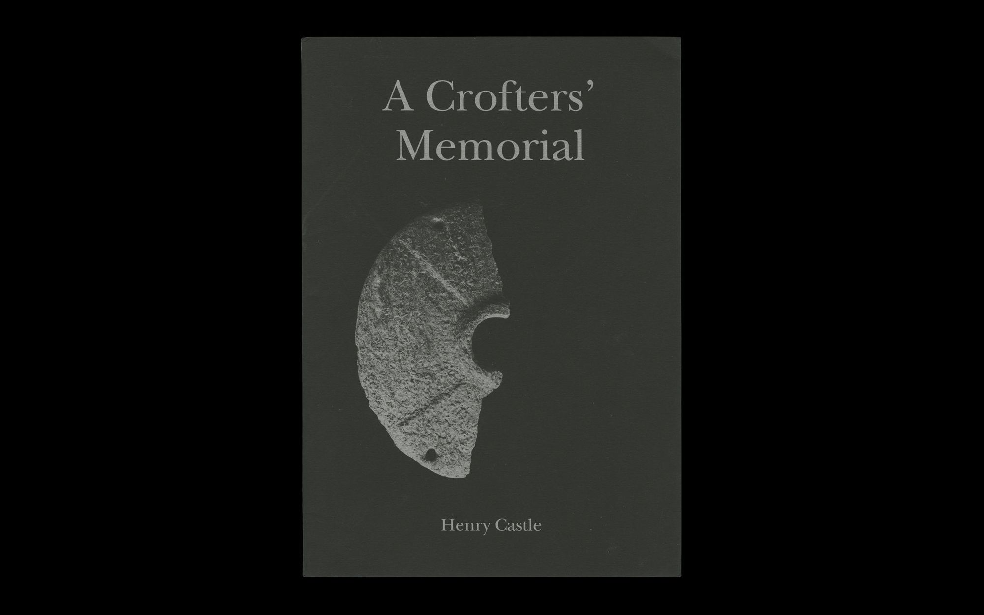 Scan of cover of Henry Castle, A Crofter's Memorial. Brochure with silver ink printed on black cover stock.