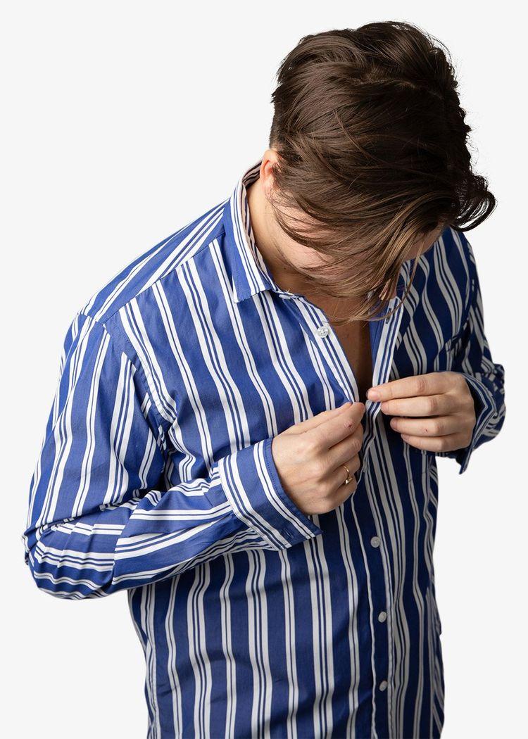 """Secondary product image for """"Kurt Skjorta Rand Blå"""""""
